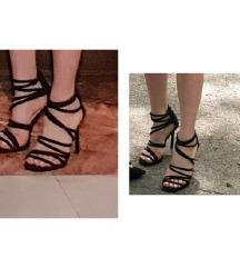Crne sandale na stiklu kao NOVE 40/41