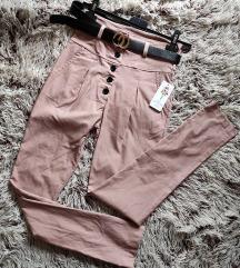 Pantalone sa kaišem,dubok struk,Nove