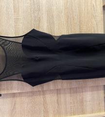 Kratka crna haljina sa providnim detaljima