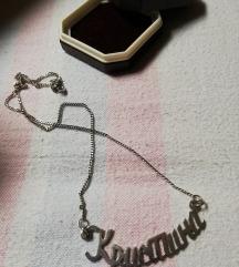 Srebrna ogrlica sa imenom Kristina Novo