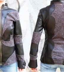 Nova Dizajnerska čipkana kožna jakna/ SNIZENO