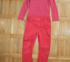 H&M bluza i crvene pantalone vel 6-7