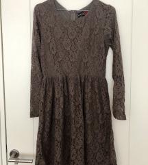 Čipkana braon haljina