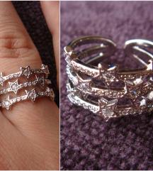 Prsten zvezdice srebro 925 NOVO