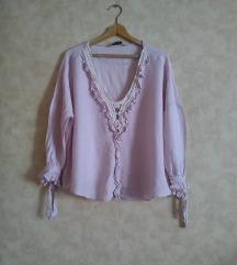 ZARA BASIC romanticna nude pink oversized bluza