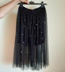 Suknja crna sa perlama