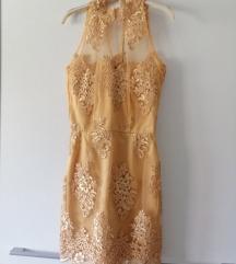 Cipkana svecana zlatna haljina  PRODATA