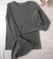 Zara siva bluza sa zvonastim rukavima S/M