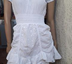 Italijanska tanja bela haljina pamucno platno vez