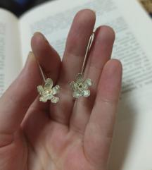 Nove minđuše cvetovi, srebro 925 sa pozlatom