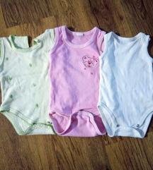 Tri bodija za bebe devojcice. Vel 56