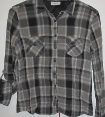Karirana sivo-crna pamučna košulja