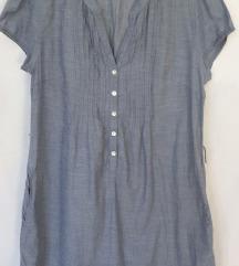 H&M pamučna haljina boje džinsa, sa džepovima