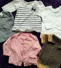 3 bluzice, kardigan i prslucic za bebe devojcice