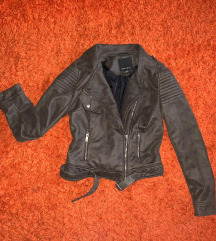 Maslinasto-braon kozna jakna