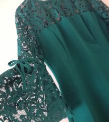Prelepa zelena haljina sa čipkom S