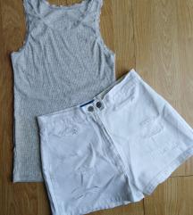 Beli duboki sorts i rebrasta siva majica M