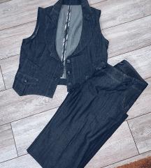 Komplet pantalone i prsluk nenoseno-novo