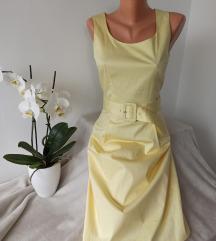 H&M midi zuta haljina sa pojasom vel 36