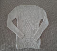 Beli vuneni džemper 70%vuna NOVO