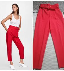 Zara crvene pantalone visok struk