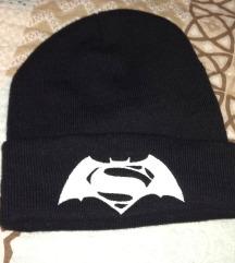 Batman/Superman crna zimska kapa