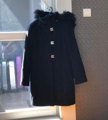 CALVIN KLEIN crni kaput sa krznom M/L