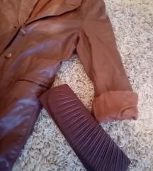 Kožna jakna-mantil-torbica poklon