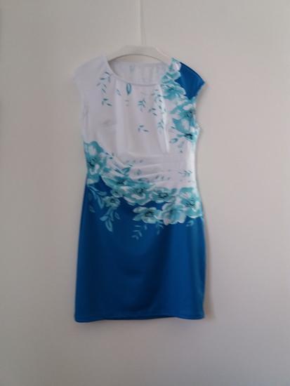 Haljina  bela-akvamarin-plava L-XL