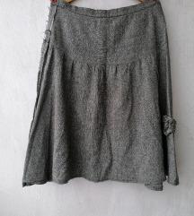 Midi zimska siva vunena suknja vel. XL