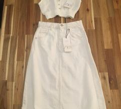 Zara teksas suknja bela vel.XS