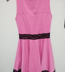 Blondy roza leprsava haljina sa crnom cipkom