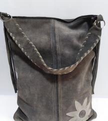 ITALY velika kožna torba prirodna 100% koža 43x34