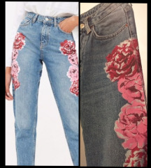 Painted floral mom jeans