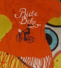 Letnja narandžasta majica sa resama za devojčice