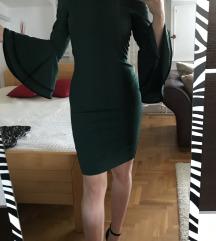Zelena haljina sa zvono rukavima uni velicina