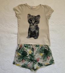 H&M komplet majica i sorts vel.4-6 god