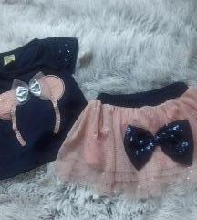 NOVO! Komplet suknja i majica za devojčice VEL 80