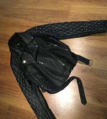 Amisu crna kožna jakna NOVA SNIŽENO