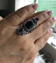 prsten AMETIST sa tri kamena