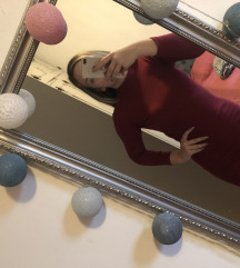 Crvena haljina rebrasti pamuk