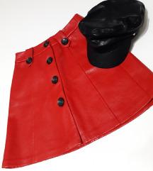Stradivarius crvena kozna suknja.