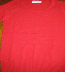 %Crveni džemperić sa zlatim perlicama br.38-NOVO