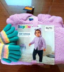 Bebi džemper za devojčice 86/98 roze rukavice NOVO