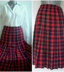 Vintage midi karo  suknja visokog struka S/XS rezz