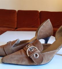 Braon cipela od prevrnute koze