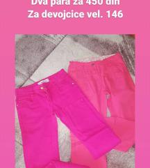 Pantalone roze za devojcice dva para za 450