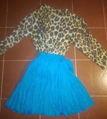 Zara svilena tirkizna suknja