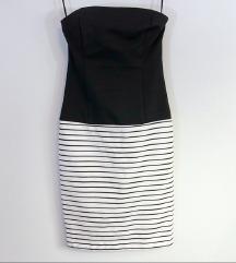 Snižena Zara crno -bela striped  haljina