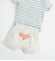 Mini Stitch Grey Fox Top and Shorts Outfit